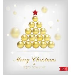 Xmas gold tree vector image