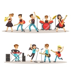 Children Musicians Performing On Stage On Talent vector image