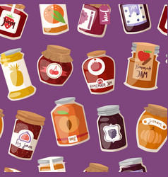 glass jar with with jam configure or honey vector image