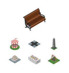 Isometric city set of sitting seesaw carousel vector