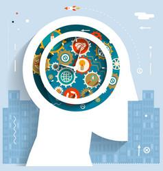time management businessman head idea generation vector image vector image