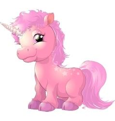 beautiful pink unicorn vector image
