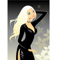 blonde in black dress vector image
