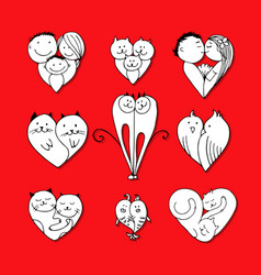 couples set of sketches for your design vector image