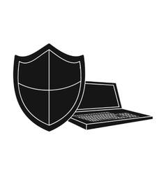 Data security of laptop icon in black style vector