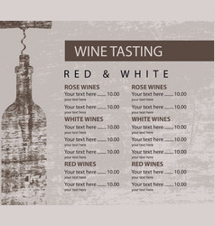 menu for wine tasting patterned bottle vector image vector image
