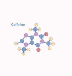 Abstract caffeine molecule model color vector