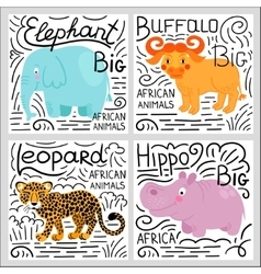 African animals set isolated on white background vector image