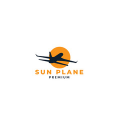 Airplane fly and sunset silhouette logo design vector
