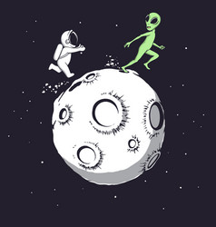 astronaut playing with an alien vector image