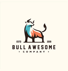 awesome bull color logo design vector image