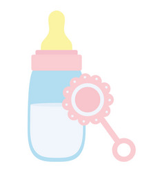 babottle milk with maraca vector image