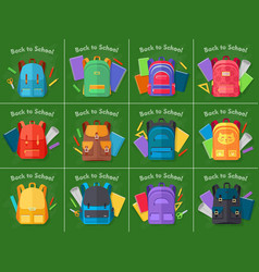 Back to school set of different kinds backpacks vector