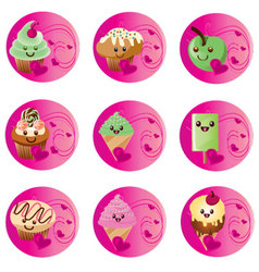 Badges kawaii food vector