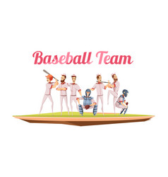 baseball team retro cartoon composition vector image