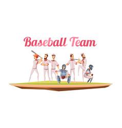 Baseball team retro cartoon composition vector