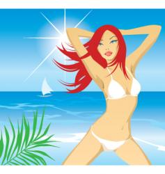Beach girl day vector