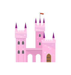 beautiful pink castle with tower building for king vector image