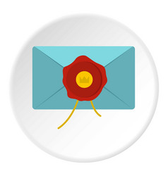 blue envelope with red wax seal icon circle vector image