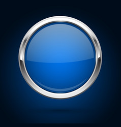 Blue glass button with metal frame round icon on vector