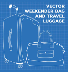 blueprint of travel luggage and weekender vector image