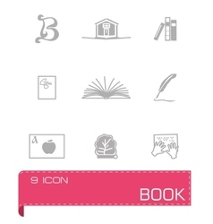 Book icon set on vector image