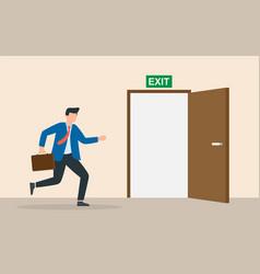 Businessman run to open exit door emergency vector