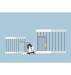 Businessman runing out from small cage vector