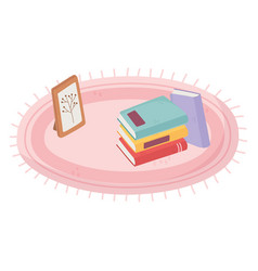 carpet with books and frame picture plant isolated vector image
