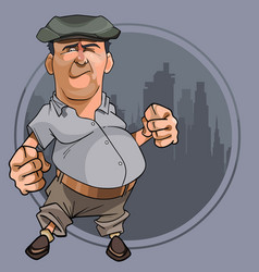 Cartoon bellied man with fists in cap vector