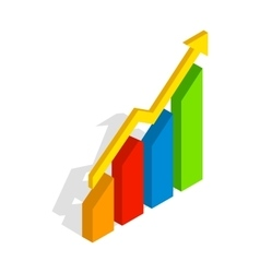 Chart arrow up icon isometric 3d style vector image