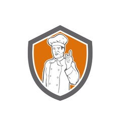 Chef Cook Baker Pointing Up Shield vector