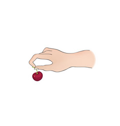 cherry on top hand holding berry dessert sign vector image