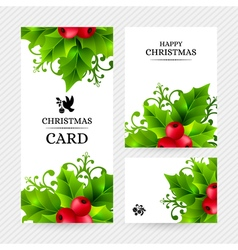 Christmas background with holly leaves decorations vector image
