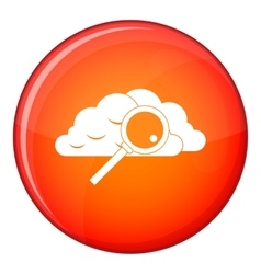 Cloud with magnifying glass icon flat style vector
