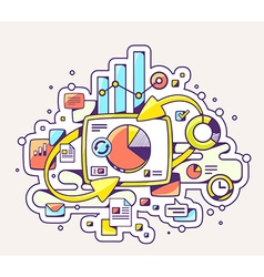 color of chart and business information on l vector image