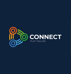 Connect play button logo link connection with vector