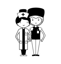 contour doctor and nurse to help people vector image