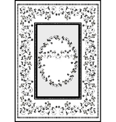 Decorative frame with graphic flourishes flowers vector image