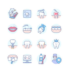 dental treatment colorful line design style icon vector image