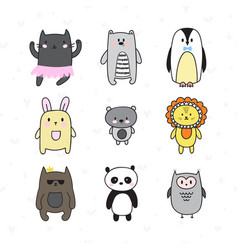 doodle collection with smiling characters set of vector image