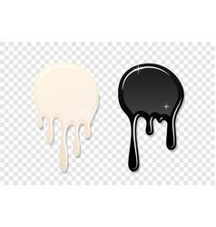 Drip paint spot 3d set isolated transparent vector