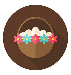 Easter Basket with Eggs and Flowers Circle Icon vector image