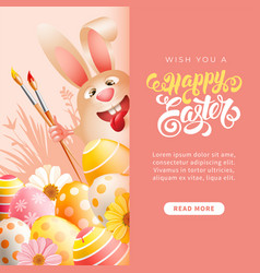 easter bunny with art paint brushes and colored vector image