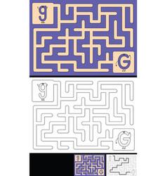 Easy alphabet maze - letter g vector