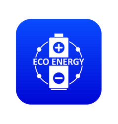 eco battery icon blue vector image