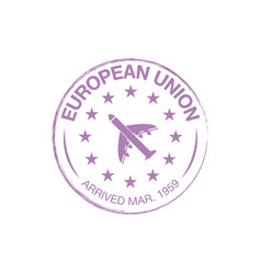 european union arrival ink stamp on passport vector image