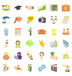fast career icons set cartoon style vector image