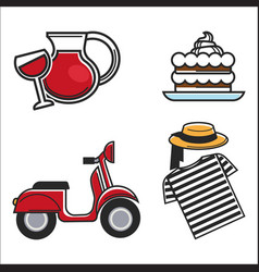 Food and drink with scooter vector
