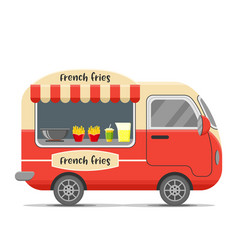 French fries food caravan trailer vector